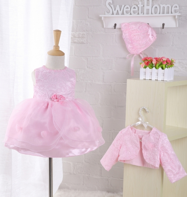 Toddler Pink Petal Baby Baptism Dress Bead Lace Princess Infant Wedding Gown with Hat 3pcs/set Baby Girl Birthday Party Wear