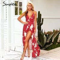 Simplee Backless Lace Up Print Long Dress Women Split V Neck Red Summer Chiffon Dress Female