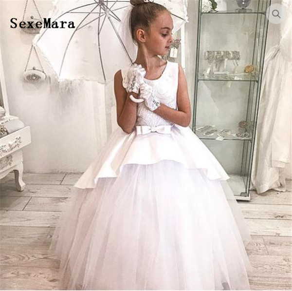 White Ivory Flower Girl Dress for Wedding Ball Gown Lace Bow Puffy Tulle Princess First Communion Dress Custom Made White Ivory Flower Girl Dress for Wedding Ball Gown Lace Bow Puffy Tulle Princess First Communion Dress Custom Made