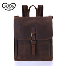 GOOG.YU High-grade leather shoulder bags Men's first layer of mad cowboy travel leather backpacks retro leisure laptop backpack