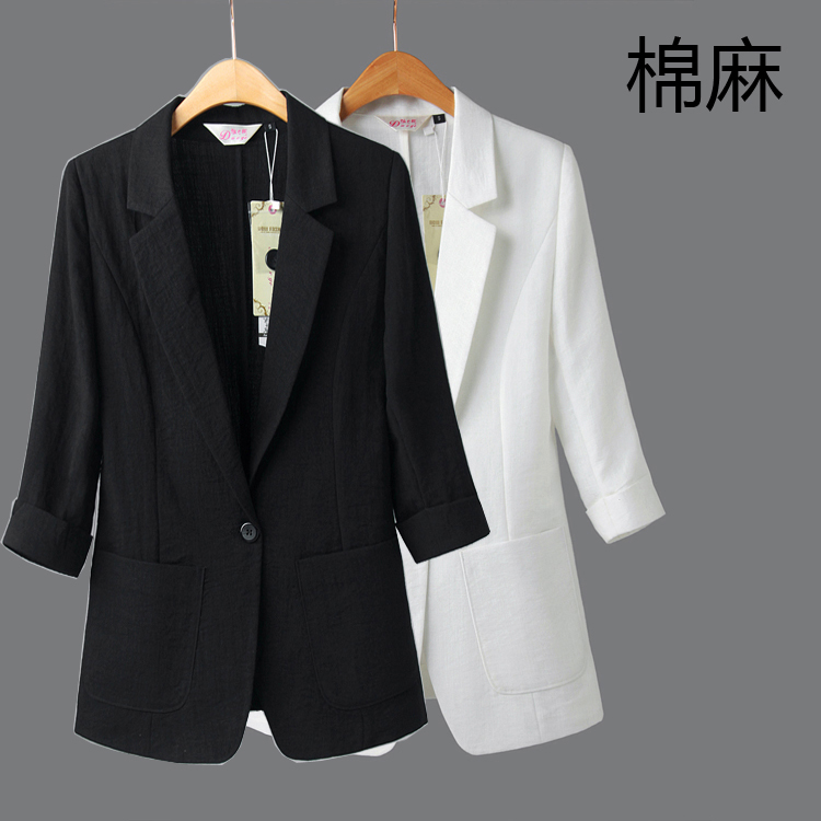 Petit Femme 2 Sept Coréenne Linge Noir Costume Coton Manches Occasionnel Summer New Et Mince Lin 1 Veste AS7Z6W