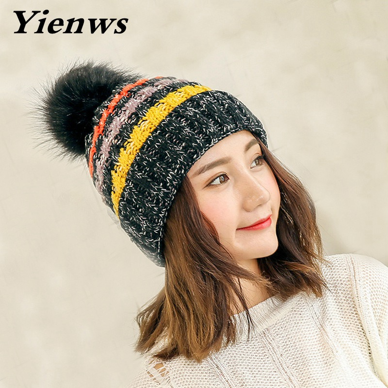 Yienws New Fur Pom Poms Hat Women Winter Hats Knitted Skullies Beanies For Girls High Quality Ball Caps Thick Female Cap YIC551 new star spring cotton baby hat for 6 months 2 years with fluffy raccoon fox fur pom poms touca kids caps for boys and girls