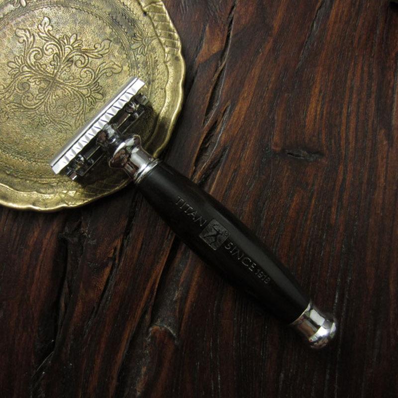 Titan dobbeltkantsikkerhed razor træhåndtag med rustfrit stål del - Barbering og hårfjerning - Foto 4