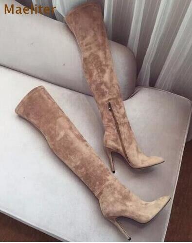 Venta caliente botas largas foto Real albaricoque negro Rosa gamuza punta  puntiaguda sobre la rodilla botas delgadas ajustadas tacones de aguja en  Botas por ... 2fddd7b2cdf61