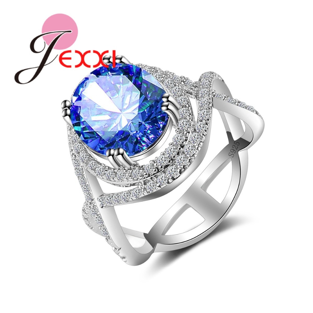 JEXXI Elegant Antique Round Clear CZ Ring 5 Color Fashion Cross Loop for Wedding Party Finger Ring Hot 925 Sterling Silver Ring
