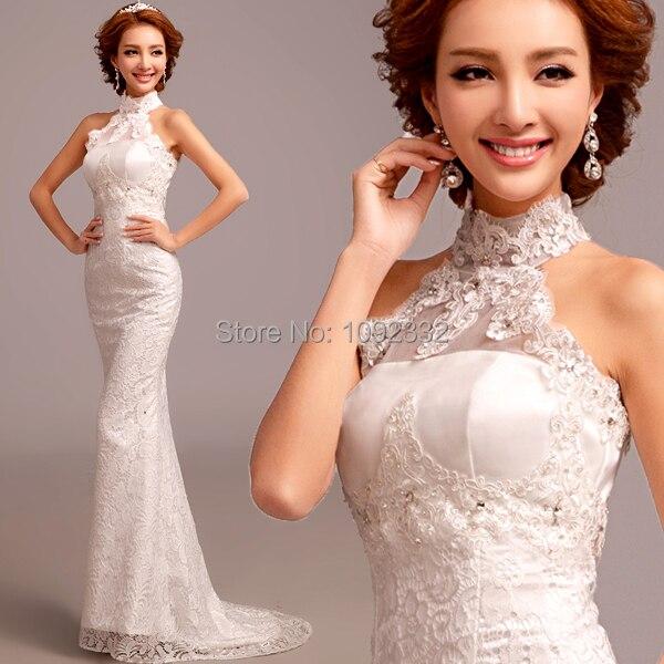 s 2016 new stock women plus size bridal gown wedding dress Korean Halter  Lace little Fish tail train tailing 2269 e42a442391e7