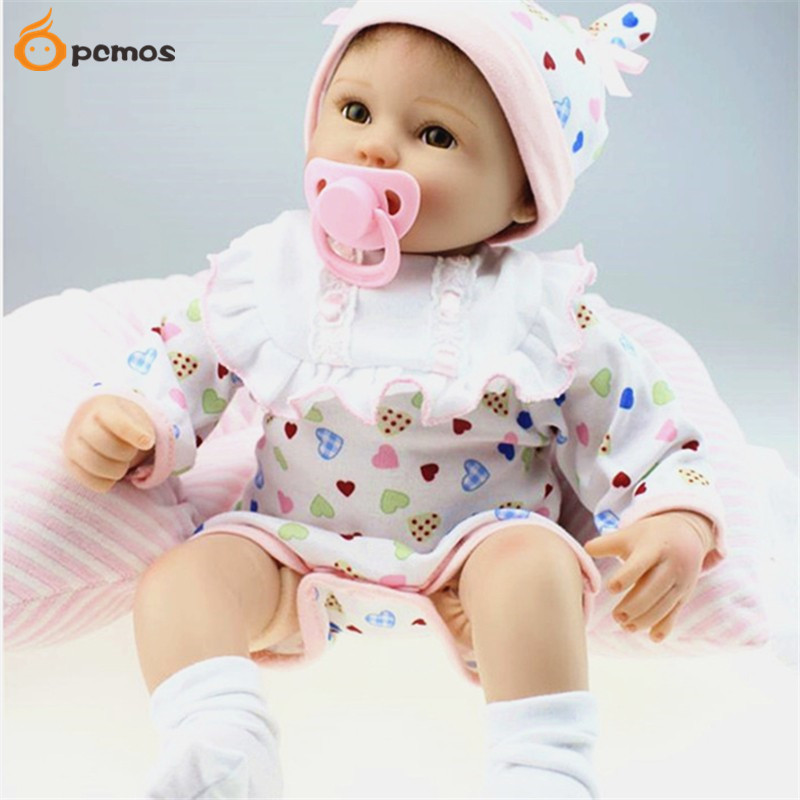 Lifelike 45cm/18 Girl Baby Reborn Doll Vinyl Real Looking Newborn Baby Doll Birthday Christmas Gift Toy Collection [mmmaww] christmas costume clothes for 18 45cm american girl doll santa sets with hat for alexander doll baby girl gift toy