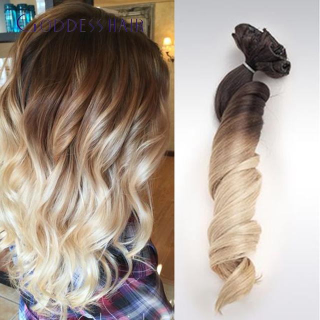 Onda solta peruano ombre grampo em extensões do cabelo humano 12-22 polegada 4 #/60 # cabelo humano grampo em extensões 10 pçs/set 100g navio livre
