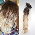 Peruvian loose wave ombre clip in human hair extensions 12-22inch 4#/60# human hair clip in extensions 10pcs/set 100g free ship