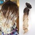Suelta la onda peruana ombre clip en extensiones de cabello humano 12-22 pulgadas 4 #/60 # del pelo humano clip en extensiones de 10 unids/set 100g libera la nave