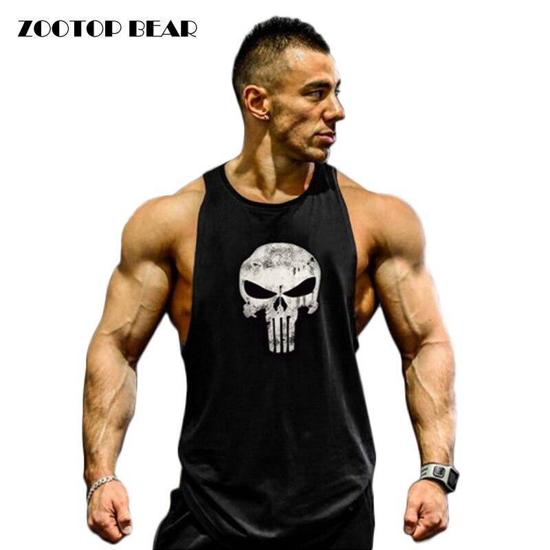 Fitness Canotta Uomo Giubbotti Bodybuilding 2017 Uomini Camicia Abbigliamento Fitness Crossfit Cotone Canotte Muscle Top Punisher ZOOTOP ORSO