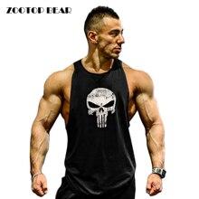 Фитнес майка Для мужчин Бодибилдинг 2017 Костюмы Фитнес Для мужчин рубашка жилеты для бодибилдинга хлопковые майки Muscle Top Каратель zootop медведь