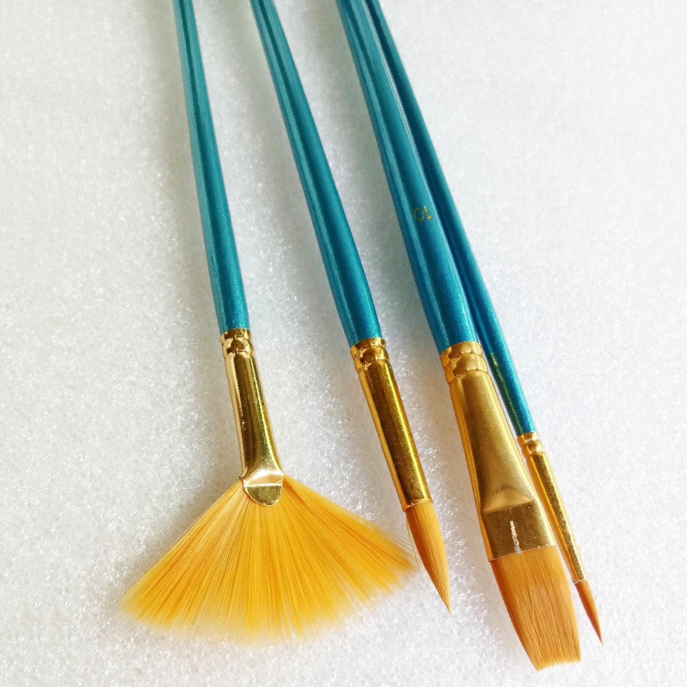 4pcs Blue Bar Nylon Hair Paint Brush Set Flabellum Pointed Tip Artist Gouache Watercolor Acrylic Oil Painting Supplies