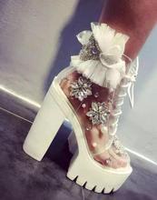 Lo nuevo transparente PVC botines hechos a mano de cristal grano de la perla tacones gruesos botas para mujer de encaje de flores plataforma con cordones botas
