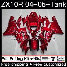 Тела все металлические красный+ майка для KAWASAKI NINJA ZX1000 C ZX 10 R ZX-10R 2004 2005 60HC. 14 ZX1000C ZX10R 04 05 ZX 10R 04 05 обтекатели
