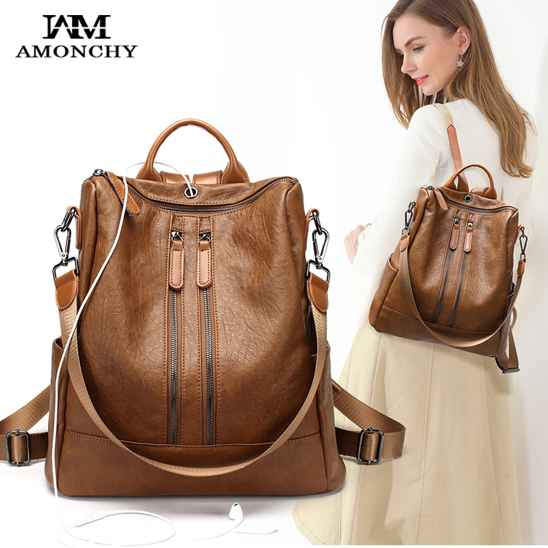 New Large Women Backpacks Multifunctional Shoulder Bags Artificial Vintage Leather Lady Shopping Traveling Backpack With Cowskin