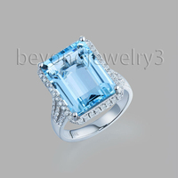 Из натуральной голубой топаз Кольца для Для женщин 18 К белого золота 0.57ct полный огранки Природный Голубой топаз Jewellery r00322