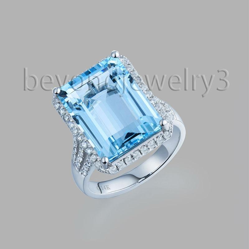 Genuine Natural Blue Topaz Rings For Women 18k White Gold 057ct Full Cut Diamond Natural Blue