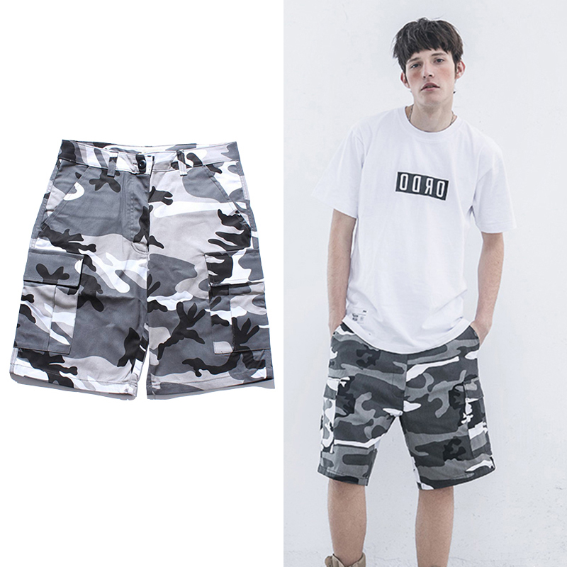 Urban Streetwear Camouflage Cargo Shorts Men And Women Summer Multi-Pocket Youth Hip-Hop Casual Shorts Military Style Shorts