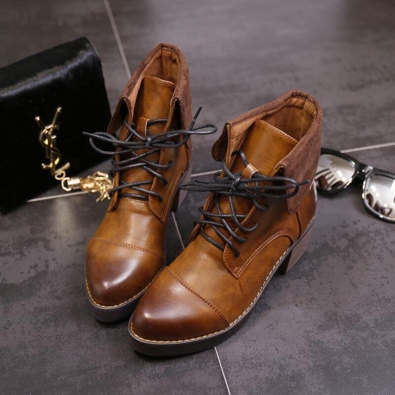 2014 autumn winter fashion casual thick heel brown martin