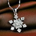 LIAMTING Fashion Jewelry Luxury 925 Silver Snowflake Prong Setting Crystal CZ Gem Necklace For Women Party Accessories VA061