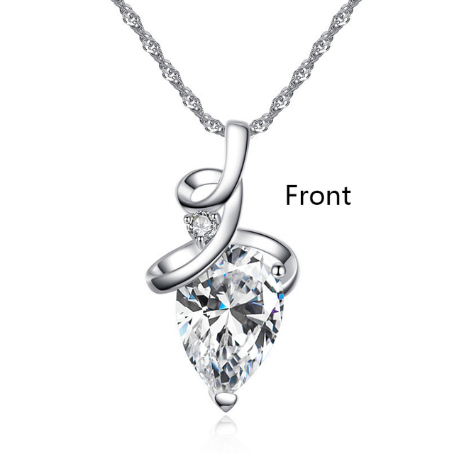 SHUANGR Women 3 Colors Crystal Rhinestone Drop Silver Color Chain Necklace Pendant For Women Jewelry Statement Bijouterie Gift 2
