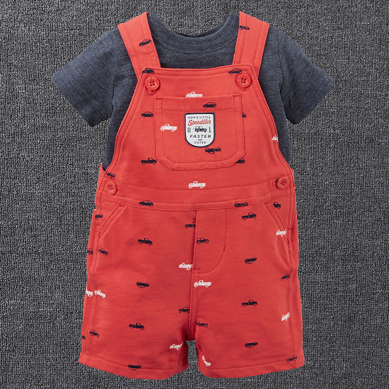 2018 new baby boy girl 2PCS suit cotton short-sleeved T-shirt overalls childrens suit