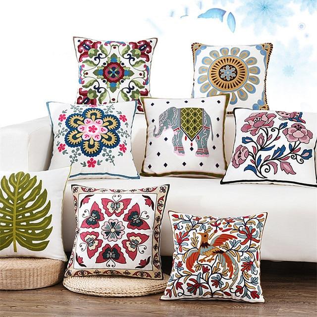 Drop Ship Embroiderd Pillow Cover Home Decor Cushion Cover Linen Cotton  Pillow Case /sofa Cushions