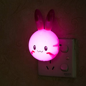 Image 2 - Cartoon Rabbit LED Night Light AC110 220V Switch Wall Night Lamp With US Plug Gifts For Kid/Baby/Children Bedroom Bedside Lamp