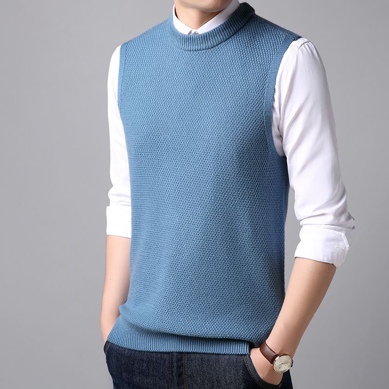 MRMT 2019 Brand New Autumn Men's Wool Vest Solid Color Round Neck Casual Warm Vest For Male Tops Knitted Vest