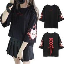 分袖黒の夏の Tシャツ女性少女 Tシャツトップ服 3