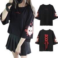 Japan Style Fox Printed Cross Ribbon T shirt Women Girls' Three Quarter Sleeve Black Summer Tee Top Clothes