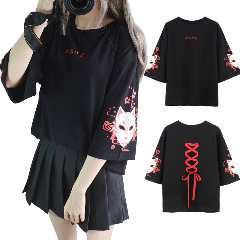 Japan Style Fox Printed Cross Ribbon T-shirt Women Girls Three Quarter Sleeve Black Summer Tee Top Clothes