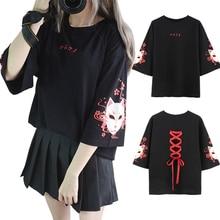 Nhật bản Phong Cách Fox In Chữ Thập Ribbon T-Shirt Phụ Nữ Girls 'Ba Quý Tay Áo Màu Đen Mùa Hè Tee Quần Áo Hàng Đầu