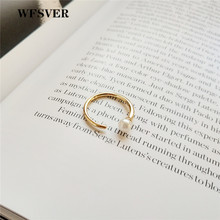 WFSVER women gold color 925 sterling silver simple ring korea style with pearl rings opening adjustable fine jewelry gift wfsver women gold color 925 sterling silver ring korea style chain flower rings openwork opening adjustable fine jewelry gift