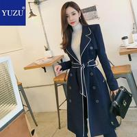 Trench Coat Women Two Piece Set Pants Suits 2018 Autumn Women Fashion Double Breasted Notched Collar Office Lady Pant Suits