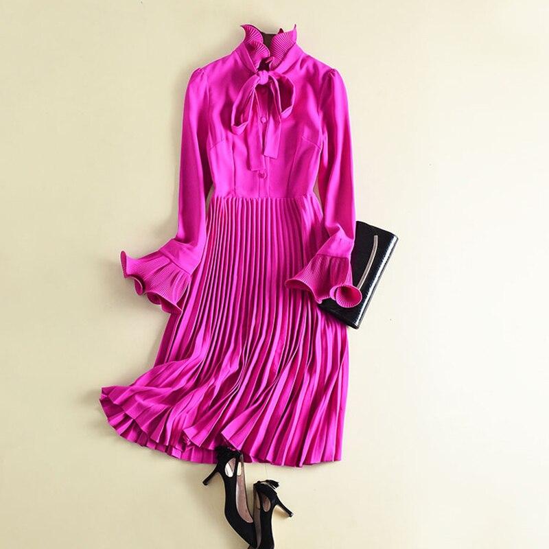 Haute qualité date 2019 Designer mode piste robe femmes Flare manches arc col Midi plissée robe