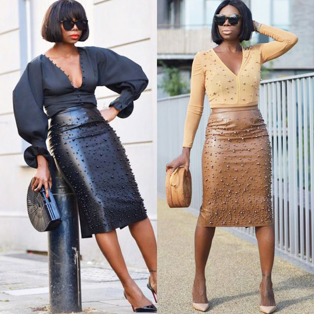 f8ce6c0cc63f BKLD Women PU Leather Pencil Skirt High Waist Elegant Office Ladies Work  Wear Pearl Beading Embellished Sexy Split Midi Skirts