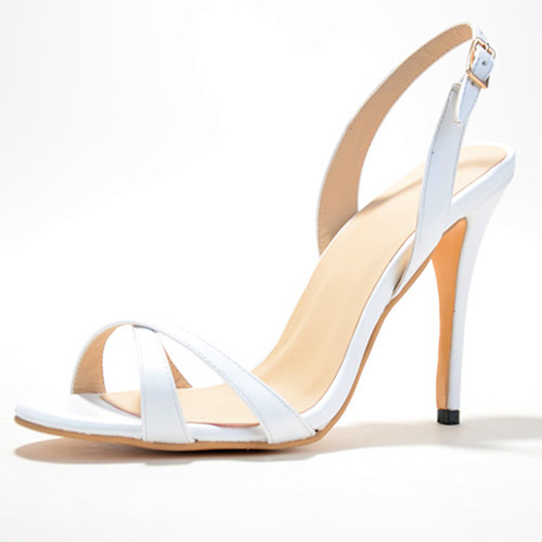 ФОТО Classics Solid White Patent Leather Women's Stiletto Heel Sandals Shoes chaussure femme 2015 Cover Heel Back Strap Women Shoes