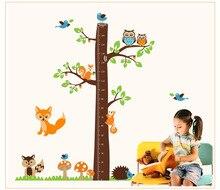 2017 New nursery vinyls Forest Animals Height Chart Decal kid's Room Baby Nursery Vinyl Wall Sticker 182*185cm vinilos bebe