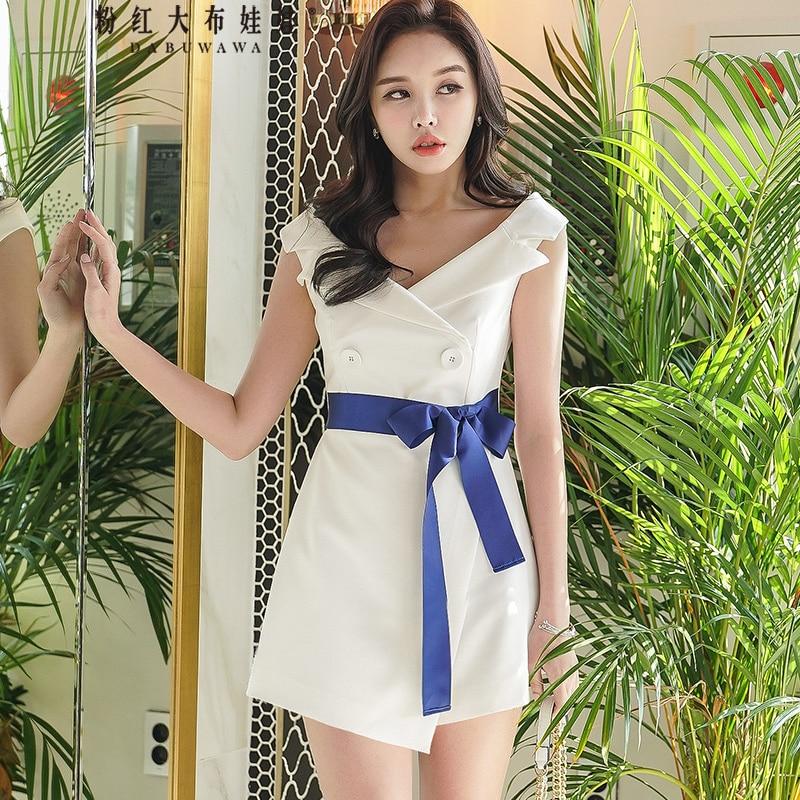Dabuwawa New Women White Formal Lace Up Playsuits Ladies Summer Sleeveless Irregular Hem Elegant Party Jumpsuits