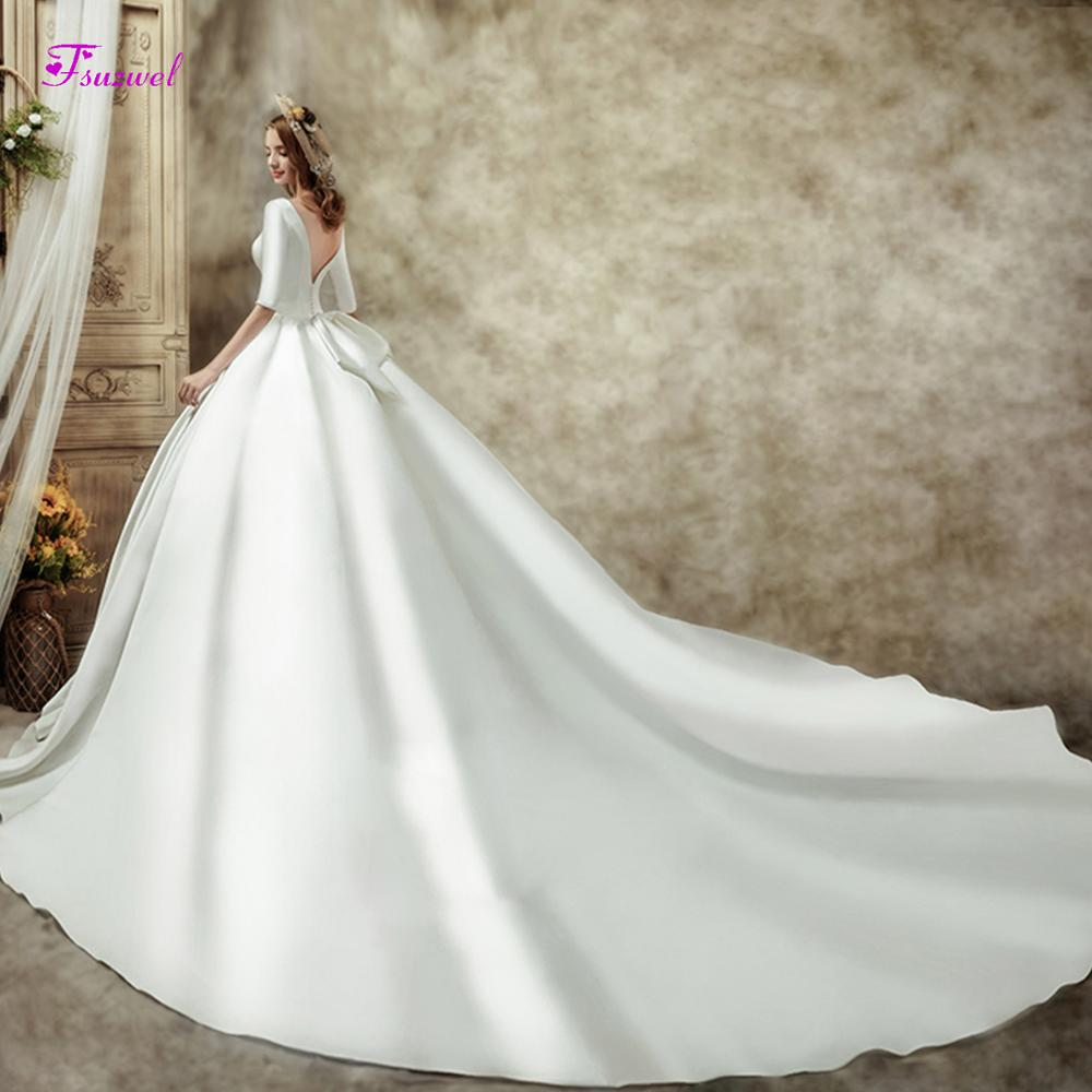 Fsuzwel Gorgeous Chapel Train Satin Backless A-Line Wedding Dress 2019 Luxury Scoop Neck Beaded Half Sleeve Princess Bridal Gown
