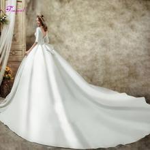 Fsuzwel lindo capela trem cetim sem costas vestido de casamento linha a 2020 luxo colher pescoço frisado meia manga princesa vestido de noiva