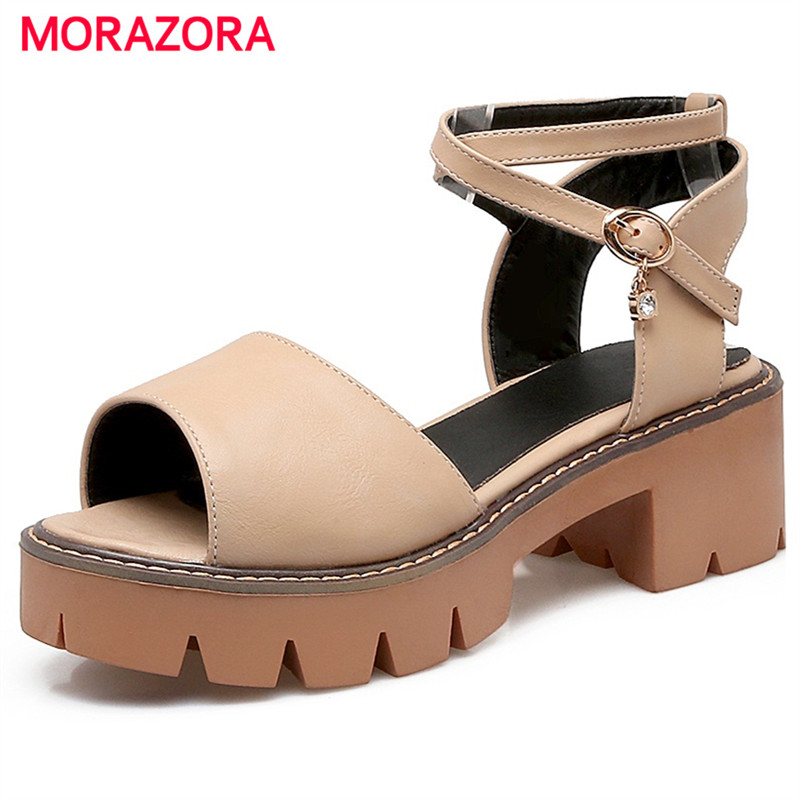MORAZORA Open-toed platform high heels shoes for woman fashion PU solid buckle summer shoes sandals women non-slip party msfair round toe wedges women sandals fashion crystal high heels casual women sandal shoes 2018 summer open toed buckle sandals