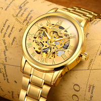 BOSCK Automatic Mechanical Watches Men Brand Luxury Gold Case Stainless Steel Skeleton Tourbillon Watch Hodinky Reloj