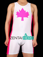Free Shipping DHL Sexy Adult Men S White And Rose Red Wrestling Singlet Maple Leaf Pattern