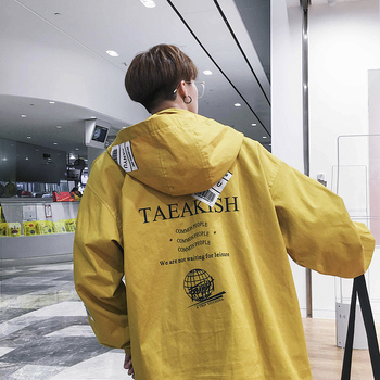 Korean Fashion Tooling Style Jacket Trend Letter Print Hooded Jacket Casual Loose Youthful Mens Coat