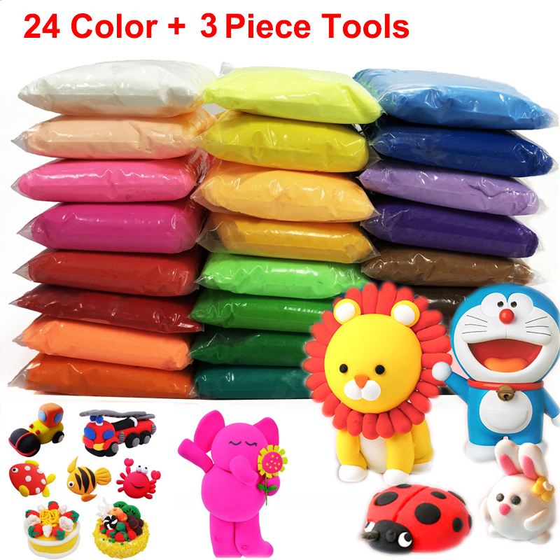 12/24/36 Color Light Clay With 3 Tools Air Dry Light Colorful Clay Creative DIY Handmade Educational Play Dough Toy Gift