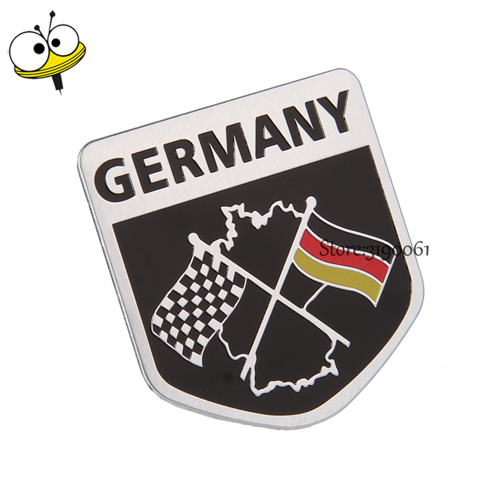 Car Styling Auto Car Sticker Emblem Badge Decal For F1 German Flag Logo For Benz Audi Q3 RS4 VW Golf Polo BMW Passat Ford Nissan