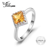 JewelryPalace Classic 1.4ct Vierkante Geel Gemaakt Sapphire Solitaire Ring 925 Sterling Zilveren Mooie Gift Voor Vrouw hot selling